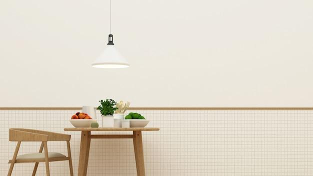 Küche eingestellt in pantrybereich und in speiseraum - wiedergabe 3d