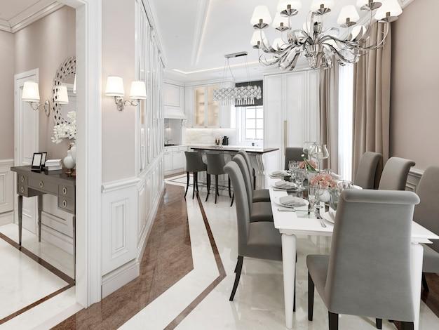 Küche esszimmer in hellen farben mit grauen möbeln und marmorboden.
