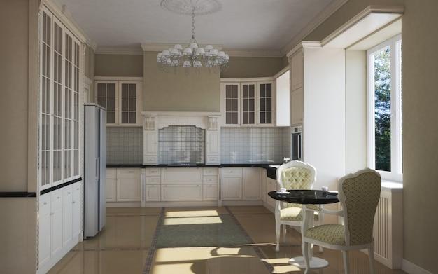 Küche, innenvisualisierung, 3d-illustration