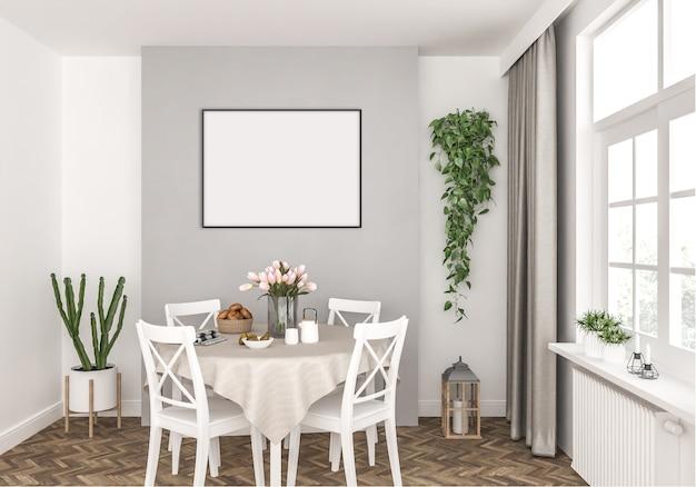 Küche mit leerem horizontalem rahmen