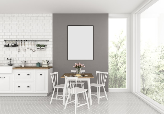 Küche mit leerem vertikalem rahmen, grafikhintergrund.