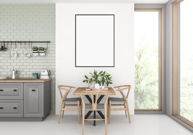 Küche mit leerem vertikalem rahmen