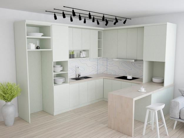 Küche mit pastellgrünen möbeln terrazzotapete und holzboden