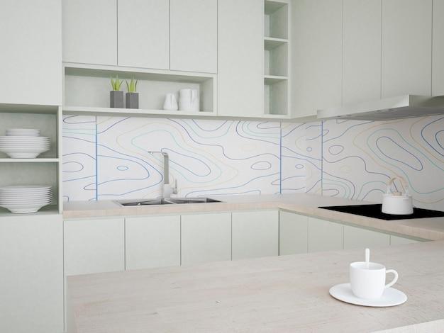 Küche mit pastellgrünen möbeln und terrazzotapete