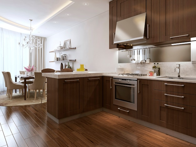 Küche und diner im neoklassizistischen stil