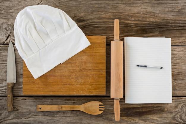 Küchenausstattung, kochmütze und molkerei