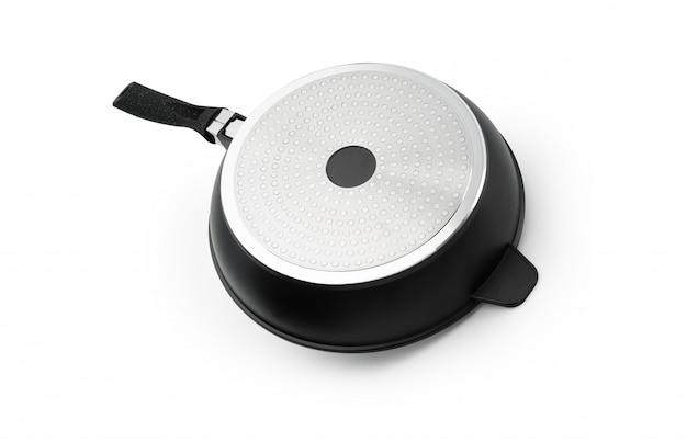 Küchenbratpfanne mit schwarzem kunststoffgriffglas-abdeckungsisolat auf weißem hintergrund