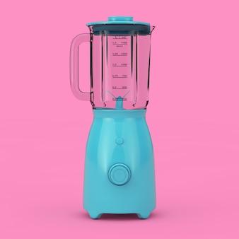 Küchengerät konzept. modernes electric blue blender mock up im duotone style auf rosa hintergrund. 3d-rendering