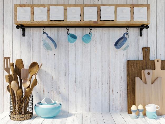 Küchengeräte auf weißem hölzernem hintergrund mit kopienraum für spott oben, wiedergabe 3d