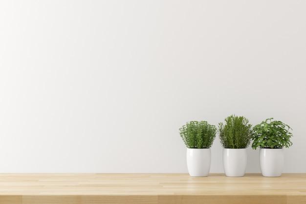 Küchengeräthintergrund mit weißem betonmauerbeschaffenheitskopienraum für text, 3d übertragen