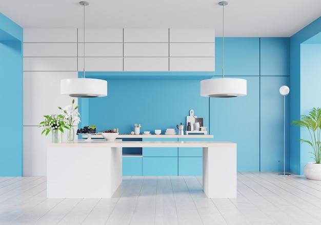 Kücheninnenraum mit wand auf klassischer blauer farbe des jahres