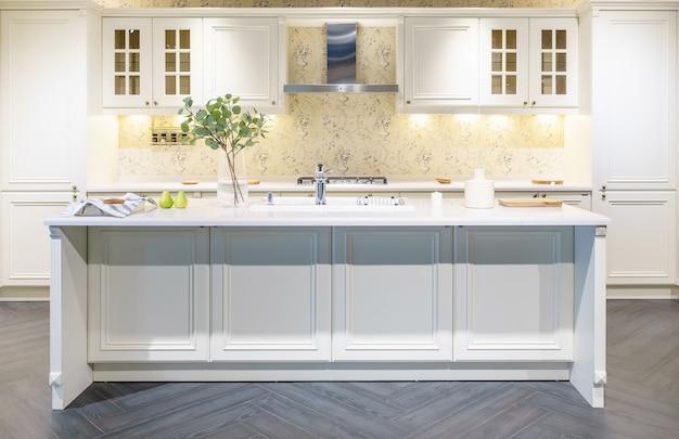 Küchenmöbel mit zeitgenössischem geschirr wie dunstabzugshaube, schwarzem induktionsherd und backofen