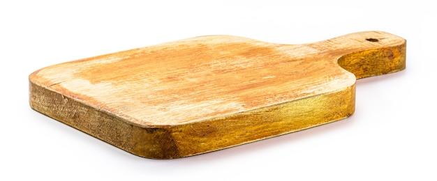 Küchenutensilien, vintage holz schneidebrett, isolierte weiße oberfläche