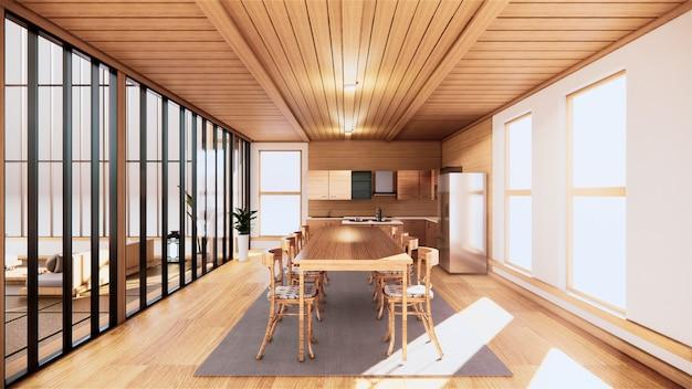 Küchenzimmer im japanischen stil. 3d-rendering
