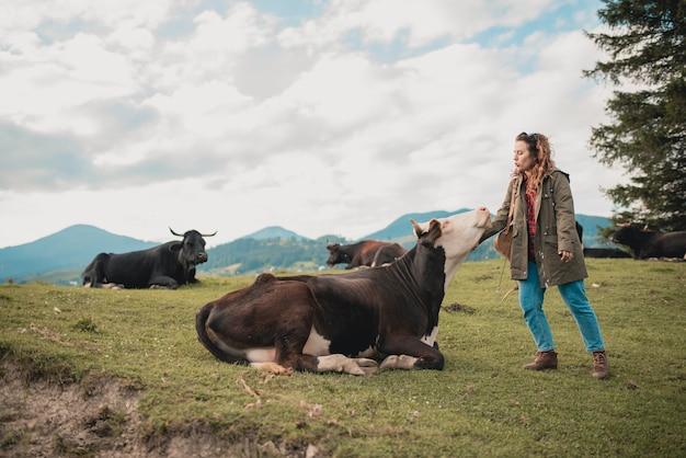 Kühe grasen auf einem dorf in den bergen