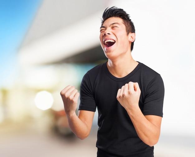 Kühl chinese-mann gewinner zeichen