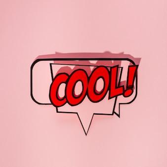 Kühler komischer spracheblasetext auf rosa hintergrund