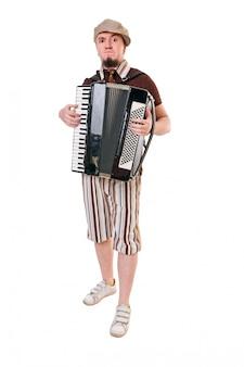 Kühler musiker mit concertina