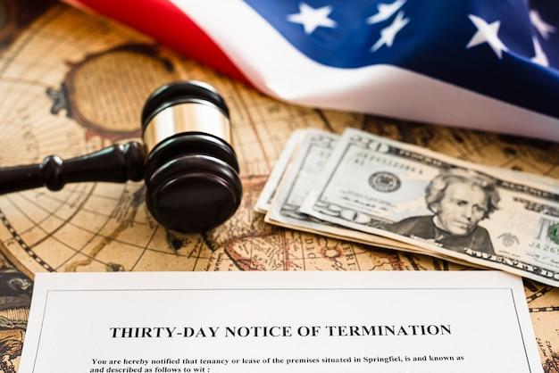 Kündigungserklärung, dokument zur benachrichtigung über die stornierung der vermietung eines eigenheims in den usa