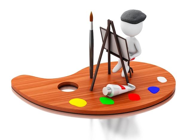 Künstler 3d, der auf farbenpalette malt.