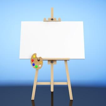Künstler-staffelei aus holz mit weißer mock-up-leinwand und palette auf blauem hintergrund. 3d-rendering.