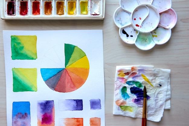 Künstlerarbeitsplatz. kunst liefert pinsel, farben, aquarelle. kunstatelier. zeichenunterricht. kreativer workshop. design ort. aquarell farbrad und palette. hobbyunterricht für anfänger in der farbtheorie.