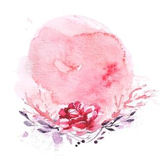 Künstlerische handgezeichnete aquarellkomposition mit farbtropfen