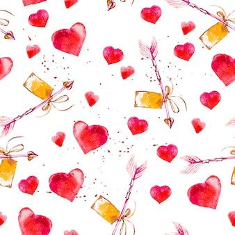 Künstlerisches nahtloses muster mit gezeichneten herzen der aquarellhand lokalisiert auf weißem hintergrund. malzeichnung. gut für valentinstagskartendesign, paketpapier. liebe und romantisches thema.
