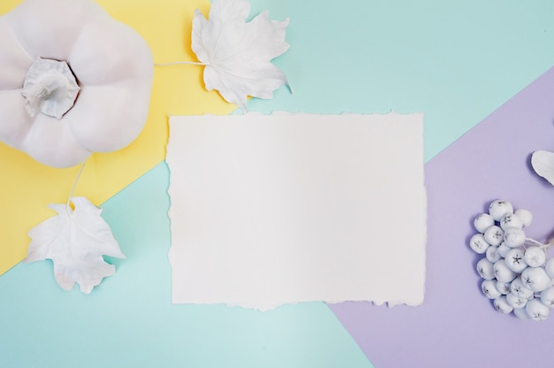 Kürbis, beeren und blätter mit weißem rahmen auf einer mehrfarbenherbstpastellfarbe
