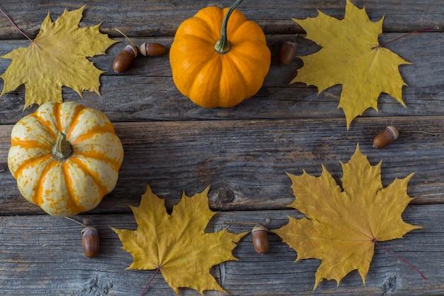 Kürbis, orangenblätter eines ahorns und eichel