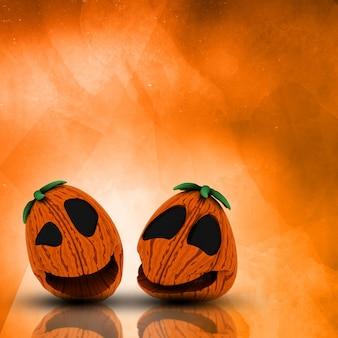 Kürbise 3d halloween auf einem schmutzaquarellhintergrund