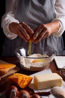 Kürbiskuchenzubereitung