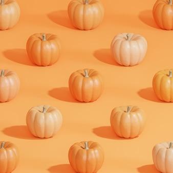 Kürbismuster auf orangem hintergrund für werbung an herbstferien oder verkäufen, 3d-rendering