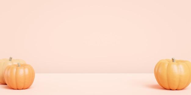 Kürbisse auf beigem hintergrund für werbung an herbstferien oder verkäufen, 3d-banner-rendering
