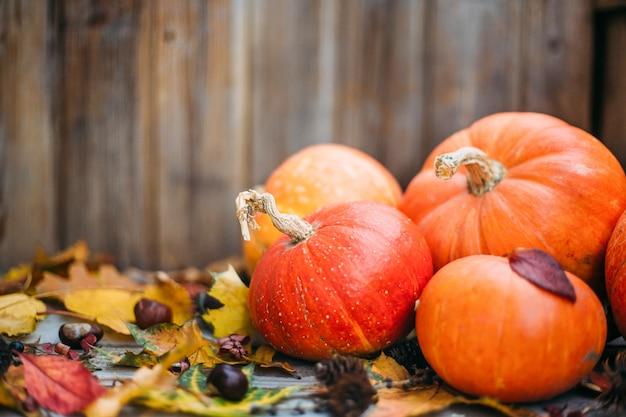 Kürbisse mit herbstlaub über holztisch. orange halloween kürbisse in der herbstkomposition.