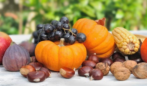 Kürbisse und früchte