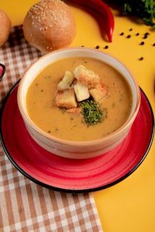 Kürbissuppe mit crackern und kräutern