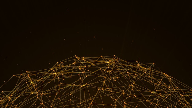 Kugel abstrakte dunkelbraune digitale datensystemknoten und verbindungspfade.