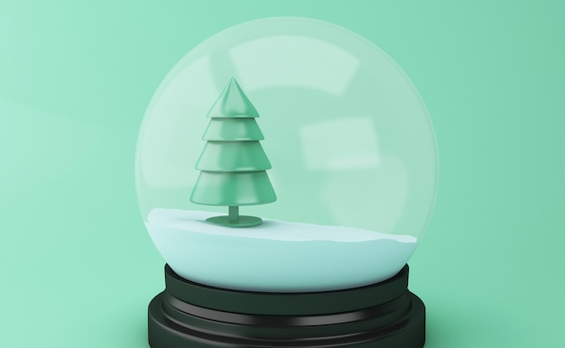 Kugel des schnees 3d mit abstraktem weihnachtsbaum.