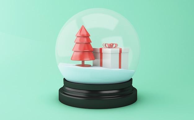 Kugel des schnees 3d mit weihnachtsbaum und geschenkbox.