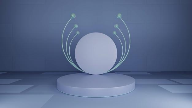 Kugelförmiger messestand, grauer hintergrund, abstrakt, 3d-rendering