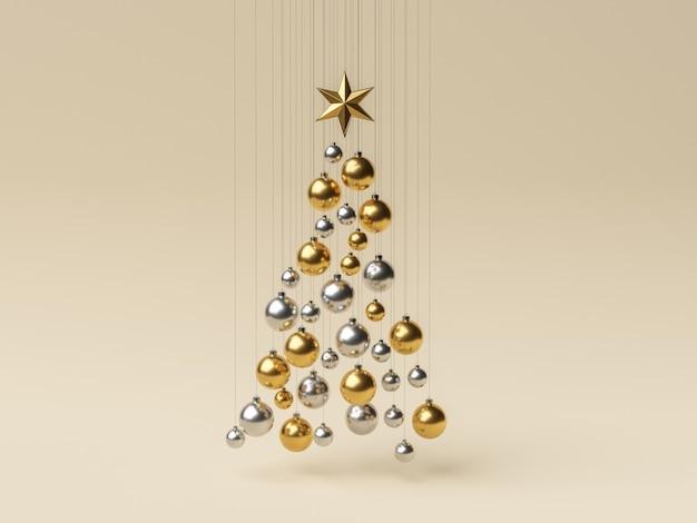 Kugeln hängen in form eines weihnachtsbaumes