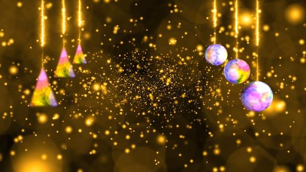 Kugeln lichter und tiefgoldener schnee und eisstaub fallen in der wintersaison sehr langsam und verblasst und blinken luxuriöser goldener hintergrund