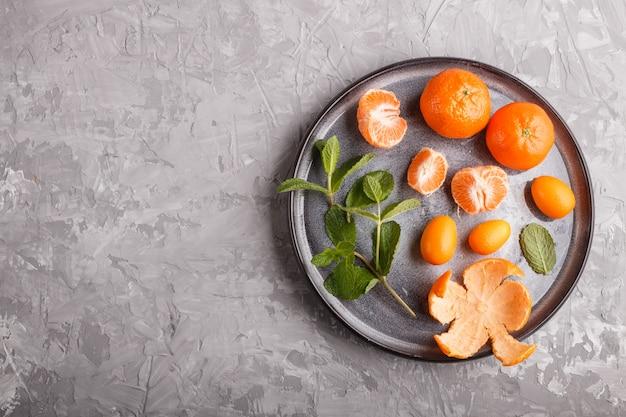 Kumquats und ein zweig minze auf keramikplatte auf grau