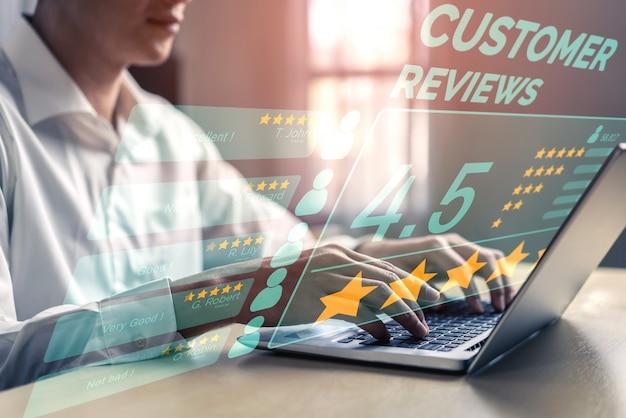 Kundenbewertungskonzept zur zufriedenheitsrückmeldung.