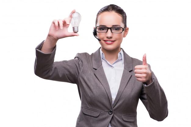Kundenkontaktcenterbediener im geschäftskonzept lokalisiert auf weiß