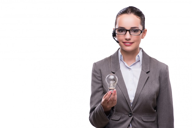 Kundenkontaktcenterbediener mit der glühlampe lokalisiert auf weiß