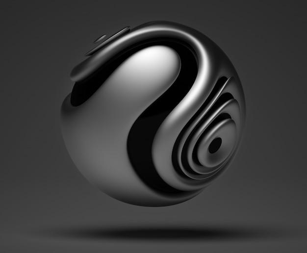 Kunst 3d mit abstrakter organischer kugel 3d im metall auf dunkelgrauem