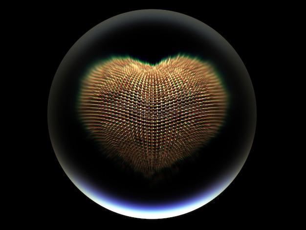 Kunst 3d mit glaskugel mit goldmetallsurrealem herzen nach innen auf schwarzem hintergrund