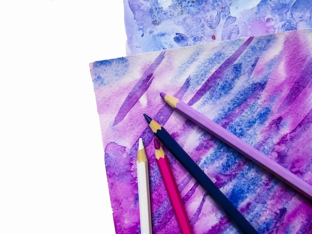 Kunst aquarell hintergrund. handgezeichnete textur. papier und bleistift.